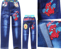 Wholesale 9 off in stock on sale Spring and autumn Fashion Cartoon Spider Man Boys cotton jeans DROP SHIPPING hot sale ZG