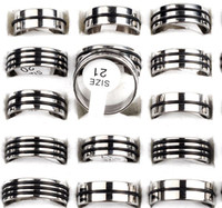 Band Rings stainless steel rings - 30 Silver Color Rubber Stainless steel rings steel rings fashion jewellery charm jewelry rings SR22