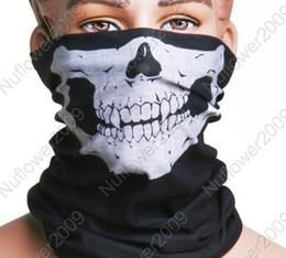 Motorcycle Bike Skull Multi functional Headwear Hat Scarf Face Mask Cap Free shipping