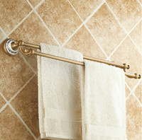 Wholesale Classic Antique Brass Bathroom Towel Holder Dual Towel Bar Hanger Ceramic Base