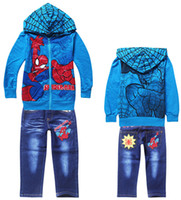 Boy jeans lot - 8 off IN STOCK Exquisite Leisure Spider Man series Fashion zipper Hoodie Long sleeved jacket jeans Set DROP SHIPPING set TM