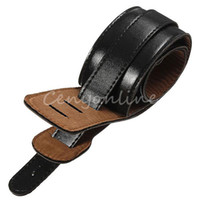 Wholesale Classic Trendy Adjustable Guitar Strap For Deluxe Guitar Bass Soft Black Leather Ends Durable Vintage Rock Punk