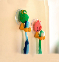 Yes Multi NEW  5pcs lot bathroom set tooth brush holder innovative items Cute Cartoon Animal Sucker Toothbrush holder Suction hooks