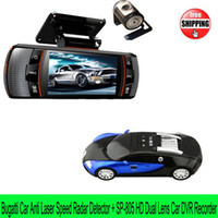 Wholesale Bugatti Car Anti laser speed Radar Detector Russian English SP805 Built in G sensor wide angle inch display HD Car DVR