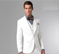 Polyester Reference Images Same as Image New Three Pieces Slim Fit Nice White Men's Wedding Suits Wedding suits for men Groom Wedding Suits Men's Wedding Dresses With Brown Bow Tie
