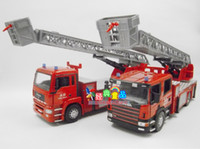 5-7 Years Bus Metal CSL 1:32 Double Cab Scania large fire ladder fire truck alloy model car toys for children