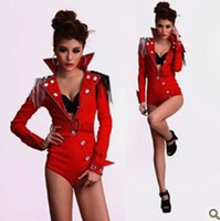 tassel clothing chain - Women Chain Rhinestone Decor Stage Wear Dance Costumes Deep V Neck Coveralls Playsuit Jazz Clothing Sexy DJ Songbird Singer Jumpsuit Red