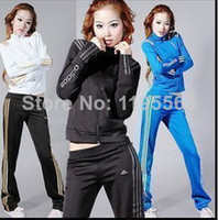 Wholesale Newest women sports active clothing set lady brand spring clothes long sleeve coat pants sets lady casual sports wear