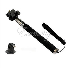 Black Camera Tripod Adjustable Extendable Handheld Monopod + Tripod Mount Adapter for GoPro 3 2 1 Camera
