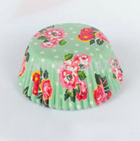 Wholesale 1000pcs mm Green Polka Dot Peony Wedding Flower Cupcake Liners Muffin Baking Paper Cups Cake Case Bakeware