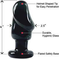 "Anal Bullet other Glass Raging Stallion Helmet Head Plug Xxl, Black 6""(size60mm*140mm)anal dildo,big anal butt plug,crystal glass sex toys anal plug anal toys"