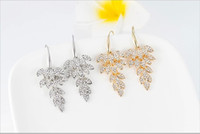 Wholesale 2014 Alloy Women Dangle Chandelier Plated Diamond Jewelry Earrings European Style Leaf Shaped Ladies Fashion Jewelry E0056