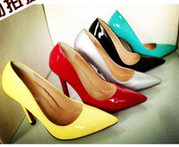 Wholesale Celeb style candy colors women pumps sharrow mouth pointed toe stiletto heels black patent leather shoes office shoes size to