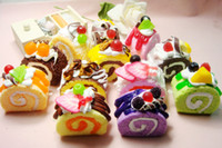 Wholesale New Arrival cm Kawaii Cell Phone Straps Squishies Bread QT Fruit Egg Roll Rare Squishy Cake Phone Chain Bag Charm
