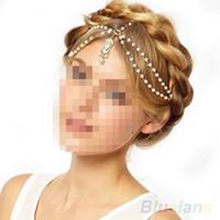 Wholesale Fashion Gold Multi Pearl Chain Bead Crown Tikka Head Hair Cuff Headband Headpiece for Women