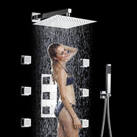 Wholesale 2014 new Bathroom Thermostatic Shower Faucet Set Valve quot Panel with Body Massage Jets Surface Finishing Chrome with years warranty