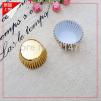 FDA aluminum foil baking - Cheap mm Mini Cupcake Liners Gold Aluminum Foil Baking Paper Cups Chocolate Cookie Muffin Cases DHL