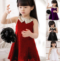 Wholesale 2014 Baby Kids Children s Girls Lovely Sequins Collar Sleeveless Vest Princess Lace Dress