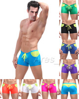 Men Shorts Patchwork Swimwear Beachwear Men's Sexy Swimsuit Mens Swimming Trunks Swim Boxer Stripe Splice Boxers Low Rise Waist Swim Wear Bathing Boxer Briefs