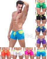 Men Shorts Patchwork Swimwear Beachwear Men's Sexy Swimsuit Mens Swimming Trunks Swim Boxer Stripe Splice Boxers Low Rise Waist Swim Wear Bathing Boxer Briefs