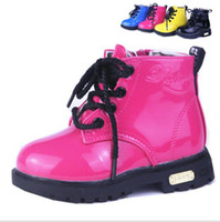 Wholesale Autumn Fashion children boots baby child candy color Patent Leather Waterproof Short Boots European Size