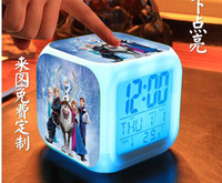 Wholesale 50pcs free shpping DHL New LED Colors Change Digital Alarm Clock Frozen Anna and Elsa Thermometer Night Colorful Glowing Clock