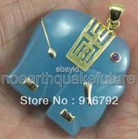 Beaded Necklaces Women's Fashion Wholesale free shipping******18K Yellow Gold Plate Blue Jade Elephant Pendant Necklace Free Chain