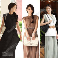 Casual Dresses High Collar Tea Length Wholesale - Women Princess Round Neck Boho Pleated Lace Chiffon Maxi long dress Hot Sell 3 Colors Agood #3841