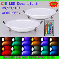 Wholesale 3W W W RGB LED Ceiling Panel Light AC85 V Color Downlight Bulb Lamp with key Remote Control Min Order DHL