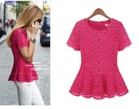 Women   New arrival Women Flared Peplum Shirts Short Sleeve Lace Flower Hollow-out Chiffon Blouses Size S M L XL XXL XXXL