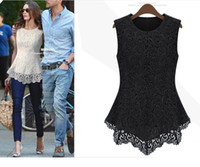 Women Round British Noble Fashion Hot Sale New Women Sleeveless Embroidery Lace Flared Peplum Shirts Crochet Tops Tee T-Shirt Slim Fit Top Blouses Size S M L XL XXL XXXL