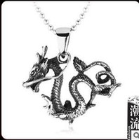 Charms Men's titanium steel pendant  Chinese wind jewelry wholesale influx of men and men's titanium steel pendant dragon-shaped jewelry national wind TGA1708