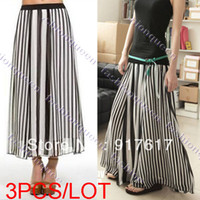 Chiffon Above Knee Women 3PCS LOT Fashion Women summer skirts Casual Girl Black&White Stripe Maxi Full chiffon long skirts Elastic Band 13981