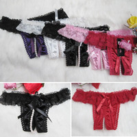 Woman S G-string Sexy women's open crotch pearl sexy thong underwear appeal T pants Panty Lingerie Panties Underwear Briefs #Q01057