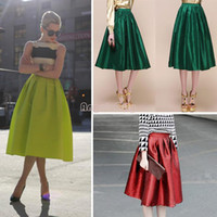 Polyester Above Knee Satin 2014 New Women Girl Vintage Retro Full Skirt High Waist Elastic Flared Skater Long Pleated Skirts 3 Color b4 SV004400