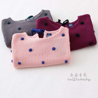 Girl Spring / Autumn  hot selling Brand New Autumn and Wintr Baby girls Loose Knit Sweaters Pullover Kids girl balls Jumper crochet tops
