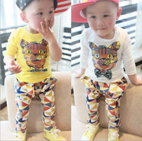 Wholesale The new children s clothing fall spell color tiger head tie long sleeve t shirt pants boys casual sets kids suit sets SM92