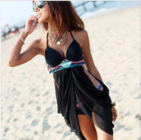 Cheap Women skirt swimsuit Best Bikinis Pure Colour push up bikini
