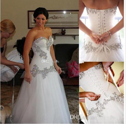 Wholesale 2014 Wedding Dresses Sweetheart Bling Bling with Tulle Beaded Lace Up at Back Chapel Train Bridal Gowns
