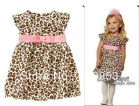 Wholesale summer pink Western style belt fly sleeve leopard dress girls clothes Casual Dresses