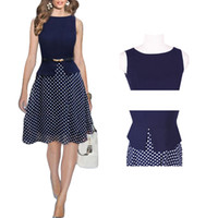 party dresses for women - S5Q Office OL Dot Dress Polka Slim Chiffon Sleeveless Party Dress For Women Ladies AAADOY