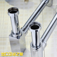Wholesale high grade copper drain pipes go into the wall drainage drains square thickening bathroom sink s trap Drains