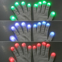 Wholesale Free ship Novelty Mode LED Gloves Glove Rave Light Flashing Finger Lighting Dancing Glow Mittens Magic