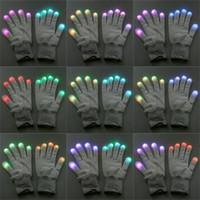 Wholesale New Fashion Mode LED Rave Light Finger Lighting Flashing Glow Gloves Black White Novelty Item for Christmas Halloween Party