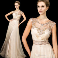 Wholesale 2014 Hot sale A line Prom Dresses Tony Bowls Sheer Lace Crew Crytsals Beaded Capped Sleeves Chiffon Long Length Sexy Evening Gowns TBE11426