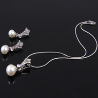 Wedding Jewelry Sets Celtic Gift Women Dress Costume Pearl Pendant Necklace Earrings Sets Fashion Silver Plated Crystal Pearl Pendant Jewelry Sets