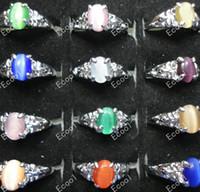al por mayor cat ring jewelry-venta caliente bonita de la manera de plata nuevos lotes de joyas por mayor mezclados 50pcs ojo de gato plateó los anillos envío libre LK008
