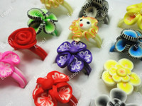 acrylic polymer resin - Lovely Fashion Hot sale New jewelry mixed children Polymer clay rings LK031