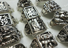 Wholesale Cool Fashion New jewelry mixed men s vintage Tibet silver rings LK015