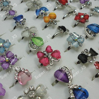 Wholesale Fashion Hot sale jewelry resin rhinestone silver plated rings LK185